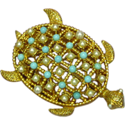 Turtle Brooch  Pin Faux  Pearl & Turquoise Encrusted Vintage Gold-Tone