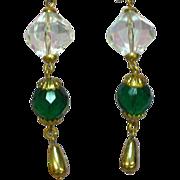 SALE 50% OFF SALE Crystal Fun Dangle Earrings Green Faceted Glass Pierced