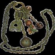 Brass Glass Key  Bobbles Fobs Dangles Charms Sensational Long Necklace