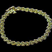 SALE 10K Yellow Gold Diamond  Hearts & Flowers Delicate Design Bracelet