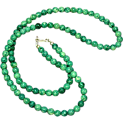 Gemstones Chrysocolla  Beads  with Sterling Silver Clasp Vintage Necklace