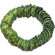 SALE 50% OFF SALE Shell Vintage Stacked Matched Blue Green Elastic Bracelet.
