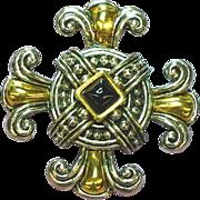 Piscitelli,Signed Maltese Cross Black Pyramid Onyx Pin,Brooch