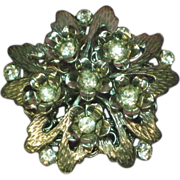 SALE 50% OFF SALE Rhinestones 3-D Dazzling Stacked Designer Floral Pin Brooch.