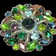 Rhinestones Sensational Large 3-D Purple Blue Green Round Pin Brooch