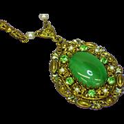SALE 50% OFF SALE   West Germany Ornate Filigree Pendant Rhinestones Green Cats-Eye Center  Ne