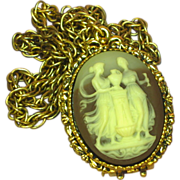 SALE 50% OFF SALE Max Factor Solid Perfume Locket Vintage Cameo Pendant Necklace