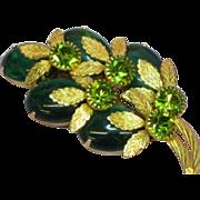 SALE 50% OFF SALE Rhinestones Olivine Kelly Green Jelly Belly Stones Flower Pin Brooch