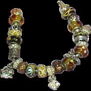 SALE Murano Art Glass Boro Beads 'Wild Side' Pandora Style Silver Bracelet