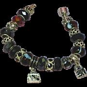 SALE Murano Art Glass Boro Beads 'Cherry Kissed' Pandora Style Sterling Bracelet