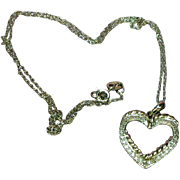 SALE Sterling Silver Vintage Open Heart Pendant with Diamond Chips  Necklace