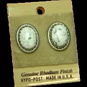 White Buffalo Turquoise Pierced Rhodium Plate NOS Pierced Earrings