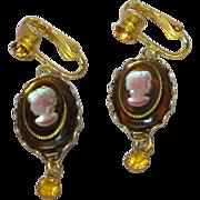 D&E for Celebrity Signed Cameo Large Ornate Clip Earrings.