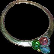 SALE D&E Rhinestone Cobra Collar Choker Vintage Necklace Juliana Book Piece