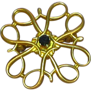 10K Yellow Gold Radiant Petite Pin with Genuine Sapphire