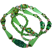 Vintage Czech Pink & Green Crystal All Glass  Wedding Cake Bead Necklace