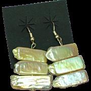 SALE 50% OFF SALE  Huge Lustrous Biwa Stick Cultured Pearl Sterling Silver Dangle Pierced Earr