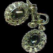 SALE 50% OFF SALE Vintage  Sterling Silver Faceted Hematite Filigree Screw Back Earrings