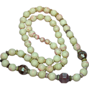 "SALE Pink Agate from Brazil with Shell and Inlaid Lavender Abalone Beads 26"" Necklace"