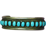 Turquoise Bracelet Native American Indian Signed Sterling Silver Small Cuff with Sleeping Beau
