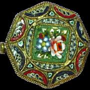 Micro Mosaic Pin Italy Octagon Shape Venetian Murano Art Glass  Brooch