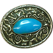 Native American Indian Signed Huge Sterling Silver & Chrysacola Southwestern USA Magnificent .