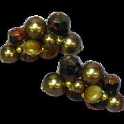 Crown Trifari Art Glass Beads Faux Pearl Clip Earrings