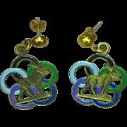 Enamel Circles Elks BPOE Dangle Pierced Earrings
