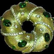 Rhinestones BIG Personality Round Brooch Pin