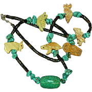 Southwest Mixed Colors and Stones Turquoise Jasper Large Bead Fetish Necklace