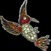 Rhinestones Enamel Hummingbird Pin Brooch