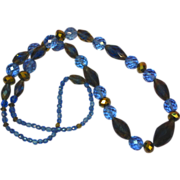 Fabulous ARUM GOLD Crystal Vintage Estate Necklace with Blue and Gold Faceted Givre Glass Bead