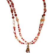 """SALE Murano Venetian Glass Givre Glass  Italy All Glass 28"""" Double Strand Bead Necklace"""