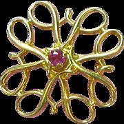 10K Yellow Gold Genuine Ruby Radiant Petite Pin