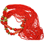 Red RED Red Seed Beads Dyed Bone Brass Torsade Necklace
