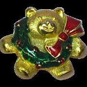 SALE 50% OFF Enamel Christmas Teddy Bear Wreath Bow Pin Brooch