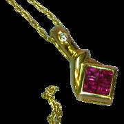 "Estate 14 Karat Yellow Gold Ruby Diamond Cocktail Drop Pendant 18"" Chain Necklace"