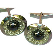 Gemstones Black  Hematite Alaska Diamond Rhodium Plate Cuff-links