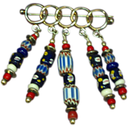 Trade Beads African Sterling Silver Hand Made Brooch Pin