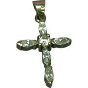 Exquisite Sterling Silver Diamond Look C Z's  Cross Necklace Pendant