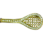 SALE 50% OFF SALE Rhinestones Gold tone Tennis Racket Pin Brooch
