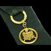 SALE Magnificent Black Grosgrain Ribbon & 14K Gold Accents Antique Victorian Pocket Watch Chai