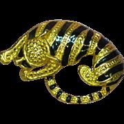Enamel Gold Tone Figural Big Cat Eye Glass Holder Pin Brooch