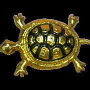 50% )FF SALE Enamel Black Gold Tone Turtle Pin