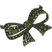 Art Deco Sterling Silver Marcasite Bow Necklace