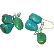 Turquoise Sterling Silver Chunk Dangle Pierced Earrings