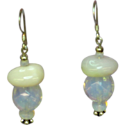 Gemstone Peruvian Opal and Opalescent Opalite Opaline Glass Dangle Sterling Silver Pierced ...