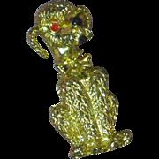 Vintage Golden Poodle Dog Figural Pin Brooch