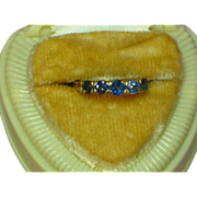 Antique 18K Gold 5 Stone Genuine Light Blue Color Change Sapphire Fine Hand Crafted Gemstone R