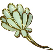 Crown Trifari White Enamel Flower  Mint Brooch Pin